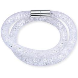 Wholesale Mesh Bracelets China - Hot sale Mesh Double Bracelets With Crystal Stones Filled Magnetic Clasp Charm Bracelets Bangles For Women 19035