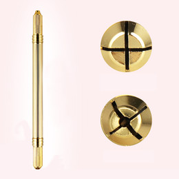 Wholesale Gold Tattoos Permanent - Tattoo Gun Gold Aluminum Alloy Eyebrow Double Head Microblading Manual Pen Hand Tool For Permanent Makeup Tattooing Pen
