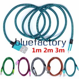 Wholesale Nylon Usb - 1M 2M 3M Wave Braided Aluminum Micro USB Cable Fabric Nylon Data Sync Transfer Steel Charger Adapter Cord for Samsung S7 HTC cell phone