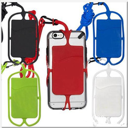 Wholesale Iphone Holder Lanyard - Universal mobile soft Silicone case with long Lanyard strap pounch card slot holder for iphone X 8 7 plus samsung smart phone