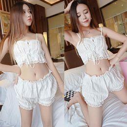 Wholesale Cute Japanese Bras - Cute Japanese style pajama sets women cotton underwear set bar pants 2 pcs for girl white color homewares set B4533