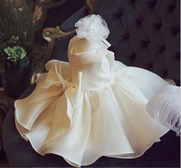 vestidos de batismo para meninas grandes Desconto Top Quality Big Bow Meninas Pageant Vestidos Para O Bebê Menina Princesa Flor menina Vestidos Crianças Festa de Casamento Formal Vestido de Baptizado