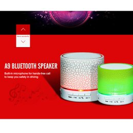 Wholesale Button Textures - Mini portable S10 A9 crackle texture Bluetooth Speaker with LED light can insert U disc, mobile phone player with retail box 01