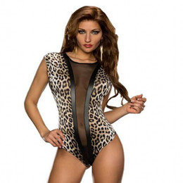 Wholesale Leopard Bodysuit Costume - 2016 New Hot Sexy Mesh Sheer Teddy Bodysuit Romper Lingerie Night Wear E3196 Erotic Leopard Leotard Teddy Body Suits For Women