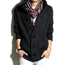 Hoodie coreano completo on-line-Camisolas dos homens Novo Hoodies De Lã Cardigan para Homens Grosso Gola Pullover Outono Inverno Coreano Mangas Compridas Fino Casuais Casaco Outwear Sólida