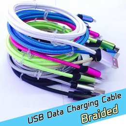 Wholesale Cell Phone Charge Cable - fast charging 2A nylon braided micro V8 usb cable usb charging cables 1M 3ft For Anroid cell phone