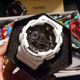 Wholesale Original G Watch - AAA 2017 Top Quality men Sports led Watches LED Digital 110 G 100 Wristwatch Boy girl 200m Waterproof Shock Watch Original Box