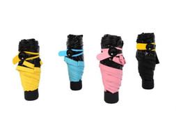 Wholesale Umbrella Uv Protection - 2016 New Creative Folding Umbrella Super Light Small Foldable Pockets Umbrellas Rain Women Kids Uv protection MIX COLORS free shipping 1122