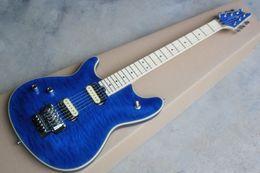 Wholesale Left Guitar - Left Handed Edward Van Halen Wolf Music Man Ernie Ball Axis Blue Burst Flame Maple Top Electric Guitar Tremolo Bridge Back Cover In Stock