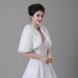 Wholesale White Real Fur Wrap - Real Photo Wedding Bolero Wraps With Half Sleeves Whtie   Ivory Faux Fur Bridal Jacket In Stock Cheap Bride Coat   Cape   Shawl   Shrug