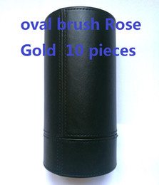 Wholesale Wholesale Gift Bags Free Shipping - makeup brands oval brush Rose Gold 10 pieces makeup brushes sets Professional Brushes+bag DHL Free shipping+GIFT.