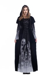 Vampiro cosplay sexy online-New Adult Womens Sexy Halloween Party Gothic Vampire Witch Costumes Outfit Fancy Cosplay Abiti all'ingrosso PS020