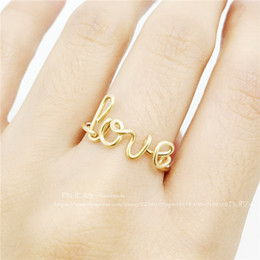 Wholesale Gold Love Words Ring - Wholesale- PINJEAS Wire Wrap Love Ring handmade Sterling Silver Gold Filled DIY Bridesmaid Girlfriend mother Gift Word Unique Jewelry