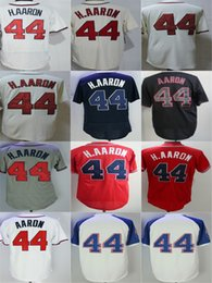 Wholesale New Jersey Drop Ship - 2016 New Cheap 44 Hank Aaron Jersey Red,Beige White,Blue Grey 1963 Throwback Atlanta Jersey Top Quality Accept Mixed orders Drop Shipping