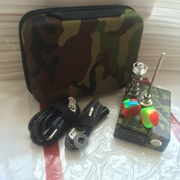 Wholesale Digital Pid - portable Camo D Electric dab nail PID digital TC box electronic E dabbing nail with silicon dab mat 16 20mm titanium coil heater