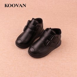 Wholesale Korean Ankle Boots Free Shipping - Hot Sale Fashion Kids Martin Boots Boy Girl Boots Leather Boots 2017 Koovan Autumn Winter High Quality Korean Free Ship K158
