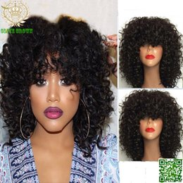 Afro Brazilian Kinky Curly Wig With Bangs Glueless 150 Density African American Front Lace Wigs Human Hair Afro Kinky Curly Human Hair Wigs April Full