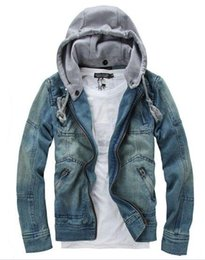 Wholesale Jeans Jacket Cool - 2016 Fall-New Fashion Mens Denim Jeans Hoodie Jackets Top Coat Male Hooded Patchwork Jean Jacket Outerwear Cool Vintage Plus Size M-3XL