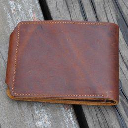 Wholesale Vintage Money Clips - wallet and money clip Brand High Quality Vintage Retro 100% Genuine Crazy Horse Leather Cowhide Men Male Short Bifold Wallet Wallets Purse