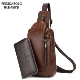 Wholesale Black Fd - Wholesale-FD BOLO Brand Bag Men Chest Pack Single Shoulder Strap Back Bag Leather Travel Men Crossbody Bags Vintage Rucksack Chest Bag