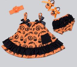 Wholesale Skull Print Short Dress - New Baby Girl Halloween Clothes Infant pumpkin skull printed Bow falbala Dress +Headband+Shoes+ruffle shorts 4pcs Set Newborn Costumes A9575