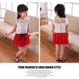 Wholesale Girls Petti Skirt Sets - Clearance 3 colors Girls Summer Chiffon Dress Outfits Two piece Sets Lace Embroidery Tshirt and Bow Sashes Chiffon Petti Skirt Suits Clothes