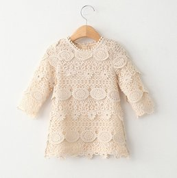 Wholesale Long Lace Dress Wholesale - Brand 2016 baby girls lace dress crochet Long sleeve hollow princess dress middle girl children dresses girls clothing autumn winter