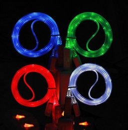 Wholesale visible led usb charger - LED Visible Color Light UP Micro USB Data Sync Charger Cable Flashing Charging Cords 1M 3FT For Samsung Note 8 S8 Plus S7 S6 Edge HTC Phone
