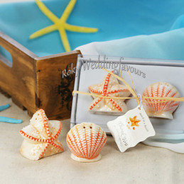 Wholesale Seashells Salt Pepper Shakers - DHL FREE SHIPPING 100Sets Seashell and Starfish Salt & Pepper Shaker Wedding Favors Engagement Party Ideas Birthday Table Decor