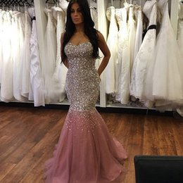 Wholesale Strapless Chiffon Sweetheart Evening Dress - Abendkleider 2016 Kristall Free Shipping Luxury Crystals Beaded Strapless Mermaid Long Evening Dresses Women Formal Party Gowns