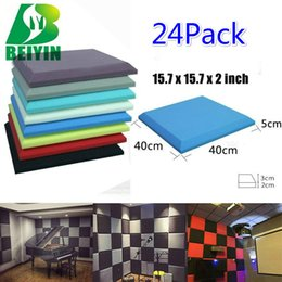 """Wholesale Noise Absorption - 24 Pack Square Plate Acoustic Foam Wall Panel Soundproofing Noise Elimination Decorative Material Sound Absorption Panel 15.7x15.7x2"""""""