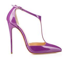 Wholesale String Wedding Dresses - Karmran Womens Handmade Fashion 120mm J String Pointy Ankle Strap High Heel Pump Sandals Purple Shoes