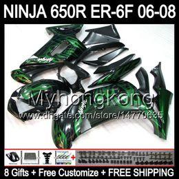 Wholesale Black Kawasaki Ninja - 8Gifts Green flames+Customize For KAWASAKI NINJA 650R 650 ER-6F 06-08 T52 Green black NINJA650 ER6F ER 6F 06 07 08 2006 2007 2008 Fairing