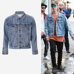 Wholesale Vintage Denim Jackets For Men - Men's Vintage Denim Jackets Famous Brand Designer JUSTIN BIEBER Coat for Men Causal FEAR OF GOD Hip hop Rock Male Outerwear Jackets J01