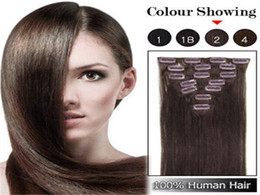"Wholesale Light Brown Clip Human Hair - Brazilian Human Hair straight Clip In Hair Extensions 7PCS Full Head Set 16""-22"" Multiply Colors Fast Shipping"