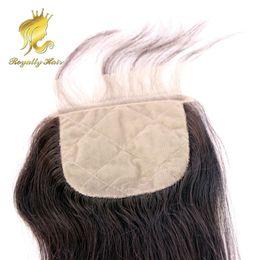 Piezas de pelo de seda de encaje de cierre online-Base de seda brasileña Cierre de encaje con base de seda recta 4 * 4 Pieza de cierre de cabello humano de pieza libre de cabello de bebé