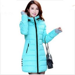 Wholesale Pink Leisure Coat - new winter leisure women high quality zipper hooded slim coat with thick cotton-padded long Down cotton jacket AE131