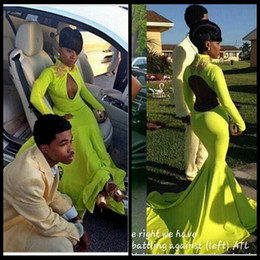 Wholesale Lime Green Long Formal Dresses - Long Sleeve Mermaid Lime Green Prom Dresses Court Train Sexy Backless High Neck 2016 Party Evening Formal Occasion Gowns