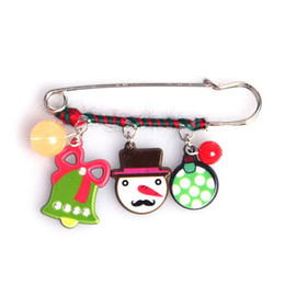Wholesale Silver Plastic Brooches Wholesale - Cute Snowman Christmas Tree Brooch Pins Enamel Pins Brooches for Women Girls Scarf Brooch Pins Jewelry Gifts