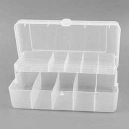 Wholesale Plastic Fishing Tackle Box - Wholesale- Trulinoya 20cm*10cm*6.5cm 2 Trays 10 Compartments Fish Tackle Box Plastic Fishing Lure Storage Box Fishing Accessories Organizer