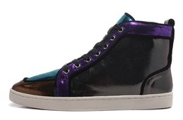 Wholesale Colorful Mens High Top Shoes - Hot Sale Genuine Leather Mens High Top Red Bottom Sneakers For Man Luxury Brand Designer Brand France Colorful Casual Shoes