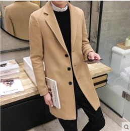 Wholesale Trench Coat Mens Lapels - S-5XL Mens Single-breasted Slim Fit Cashmere Trench Mid Long Coat Wool Blend Lapel Collar Jacket Overcoats 8Colors ZLL3211