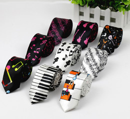 Wholesale Guitars Necks - Free Shipping New Fashion Novelty Men's Music Tie Piano keyboard Guitar Music Note Necktie