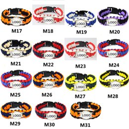 Wholesale Wholesale Paracord Survival Bracelets - Mix Styles Baseball League Paracord Survival Bracelets Custom Made Camping Sports Bracelet Customized logo team umbrella bracelet