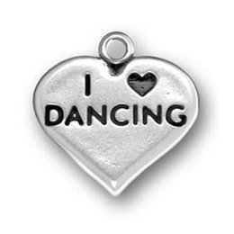 Wholesale Wholesale I Love Dance Charms - 20pcs i love dance sporty heart charm antique silver