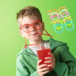 Wholesale Party Funny Drinking - 5 Colors Funny Soft Glasses Straw Unique Flexible Drinking Tube Kids Party Accessories Colorful Plastic Drinking Straws CCA7138 1000pcs