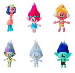 Wholesale Video Hair - Movie Trolls Plush Toy Doll Magic Hair Poppy Branch Stuffed Dolls The Good Luck Trolls Gifts Trolls Stuffed Toy Doll KKA3529