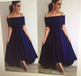 Wholesale Dresses For Guests - Strapless Navy Blue Bridesmaid Dresses 2017 With Sexy Off Shoulder Maid Of Honor Dress For Weddings Cheap Hi-low Dresses For Wedding Guest