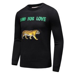 Wholesale Sweater For Man High Neck - Autumn and winter high quality cashmere men sweater embroidery decoration fashion sweater for love letters t shirt