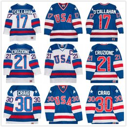 Wholesale usa hockey jerseys - 1980 Olympics Team USA Hockey Vintage Jersey #30 Jim Craig 21 Mike Eruzione 17 Jack O'Callahan Royal Blue White Stitched Retro Mens Jerseys